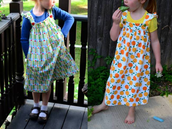 Happy Homemade Sew Chic Kids Pinafore r Small World Corduroy Oh My Darlin Clementine City Streets