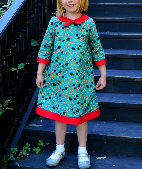 Oliver+S, Building Block Dress, Michael Miller Norwegian Woods Too Hedgehoglets