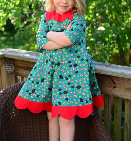 Oliver+S, Building Block Dress, Michael Miller Norwegian Woods Too Hedgehoglets